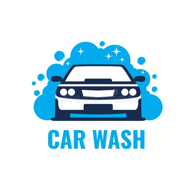 Car Wash Logo on light background. Clean car in bubbles and water. royalty free illustration