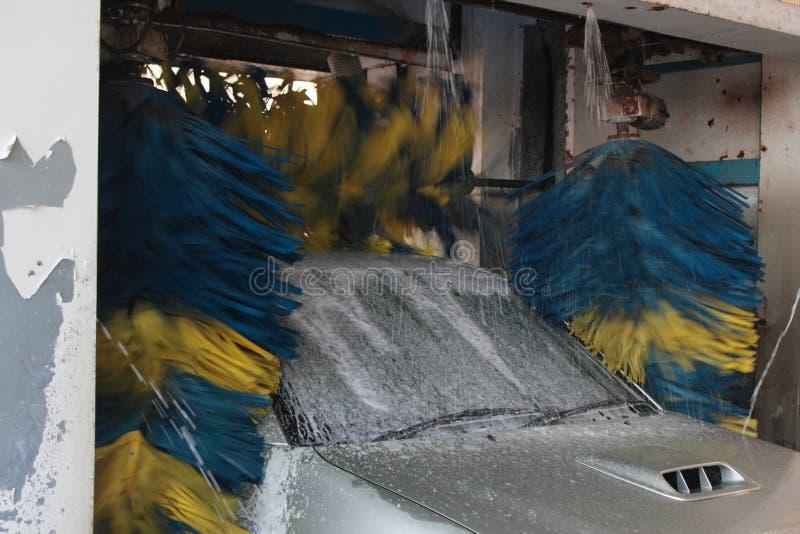 Car wash machine spray foam stock photo
