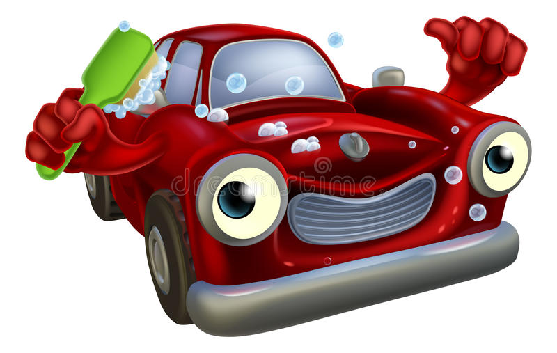Car wash mascot. Cartoon car wash mascot with a happy face giving a thumbs up and cleaning himself with a brush and lots of bubbles royalty free illustration