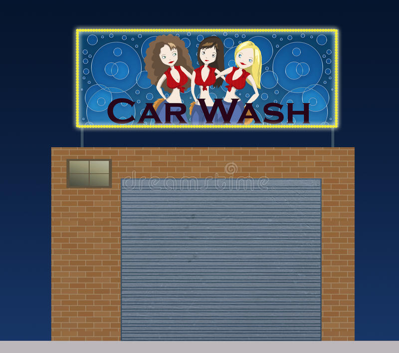 Download Car wash at night stock illustration. Image of blue, city - 12324490