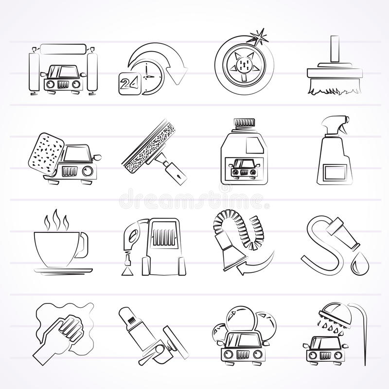 Car wash objects and icons vector illustration