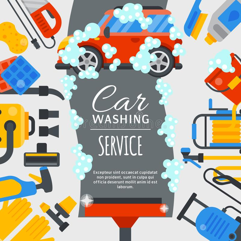 Free Car Wash Poster Water Transport Cleaner Background Vector Illustration. Washer Car Shower Washing Service Auto Vehicle Royalty Free Stock Photo - 144787665