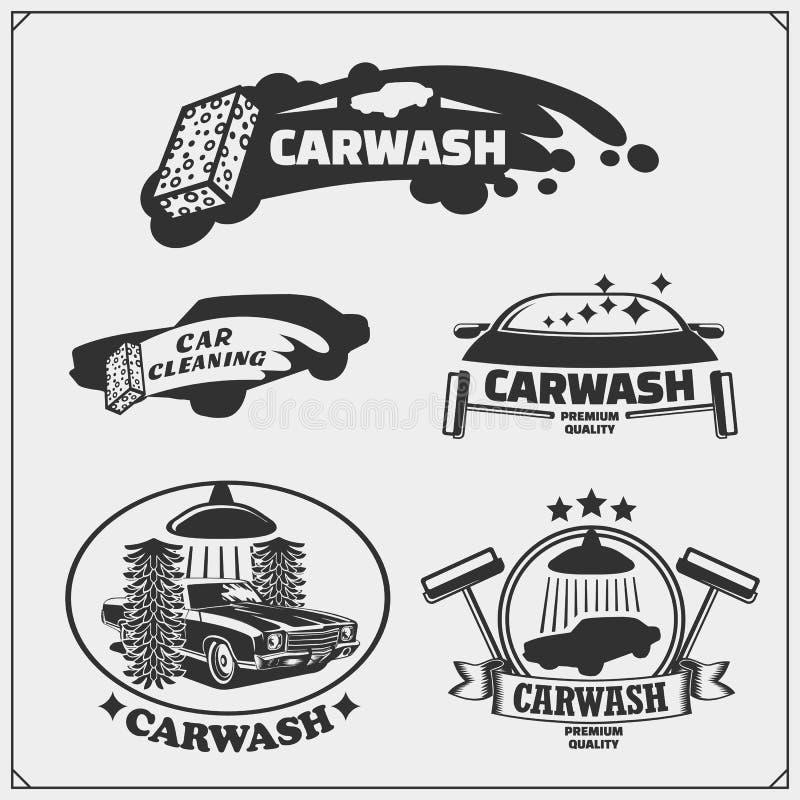 Car Wash service emblems. Template, concept, design elements for Car Wash logos. Vector stock illustration
