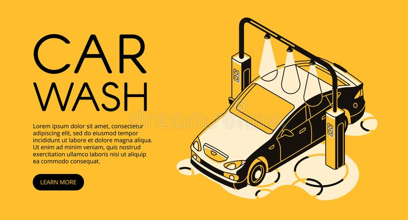 Car wash service vector halftone illustration royalty free illustration