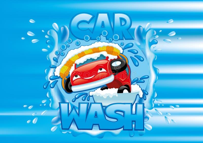 Car wash sign. Car wash sign on a blue background stock illustration