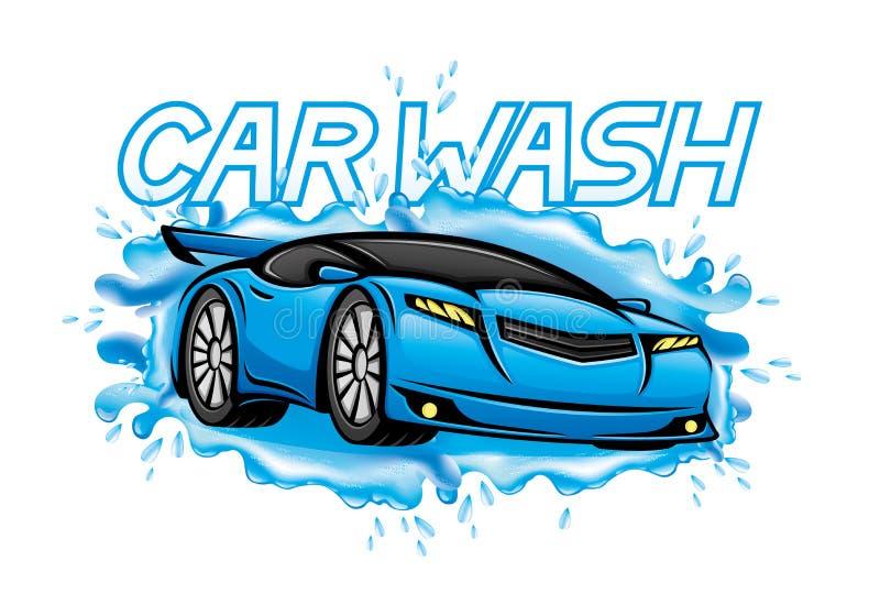 Car wash sign. Car wash sign on a white background stock illustration