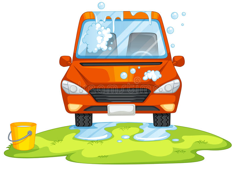 Car washing in the park stock illustration