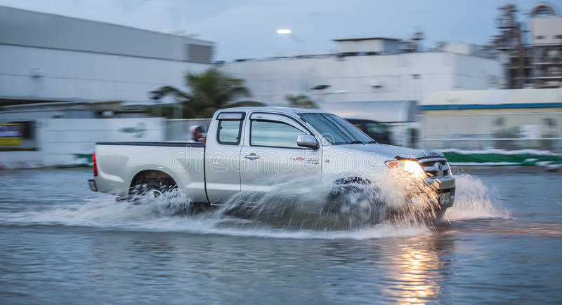 Car In Water Flooding Editorial Stock Image