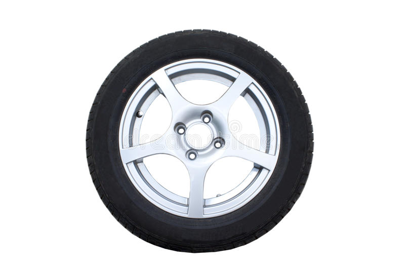 Car wheel. Isolated over white background stock photography