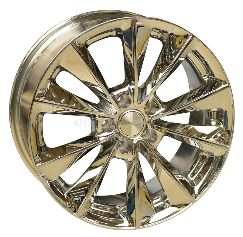 Car Wheel. Isolated on white, with clipping path royalty free stock photo
