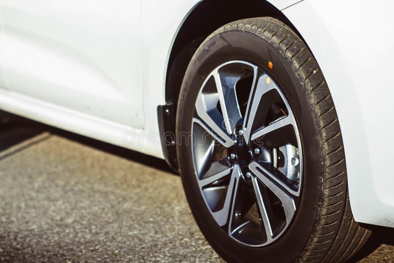 Car wheel on a car - closeup royalty free stock photos