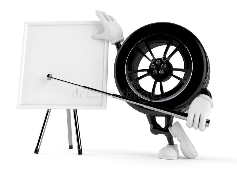 Car wheel character with blank whiteboard. Isolated on white background. 3d illustration royalty free illustration