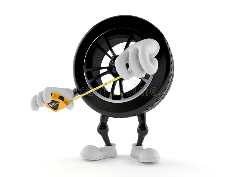 Car wheel character holding measuring tape vector illustration