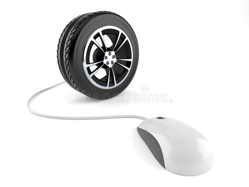 Car wheel with computer mouse. Isolated on white background vector illustration