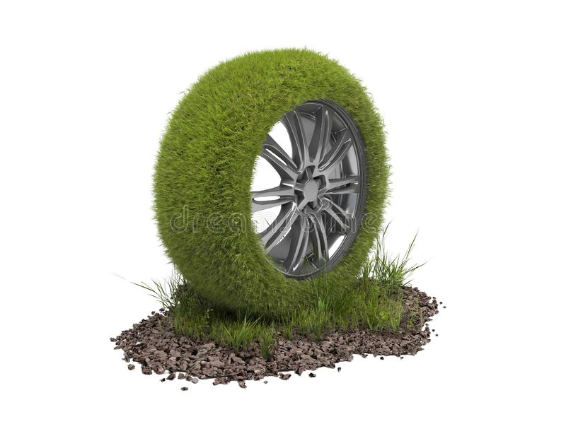 Car wheel covered with green grass isolated on a white background. Creative conceptual illustration of environmentally friendly royalty free illustration