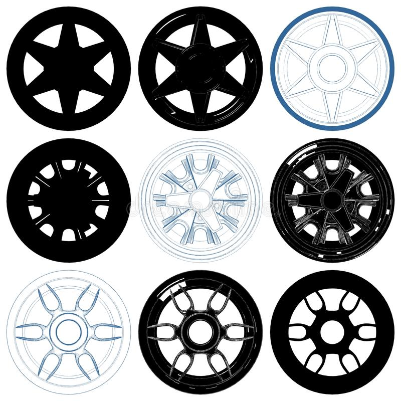 Car Wheel Disc Rims Isolated Illustration On White Vector. Car Wheel Disc Rims Isolated Illustration On White Background Vector vector illustration