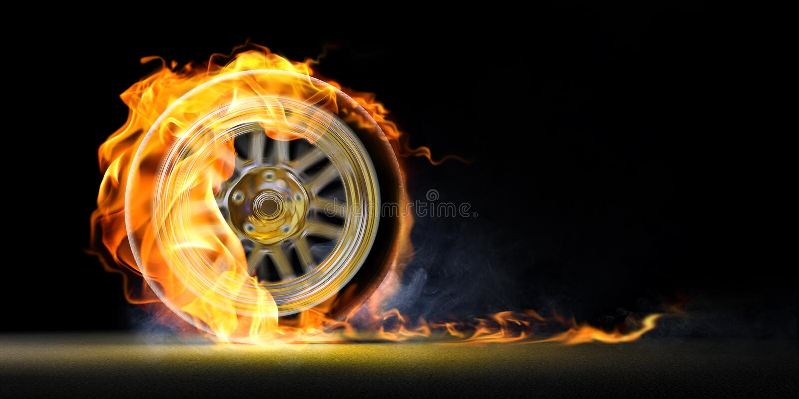 Car wheel on fire royalty free illustration