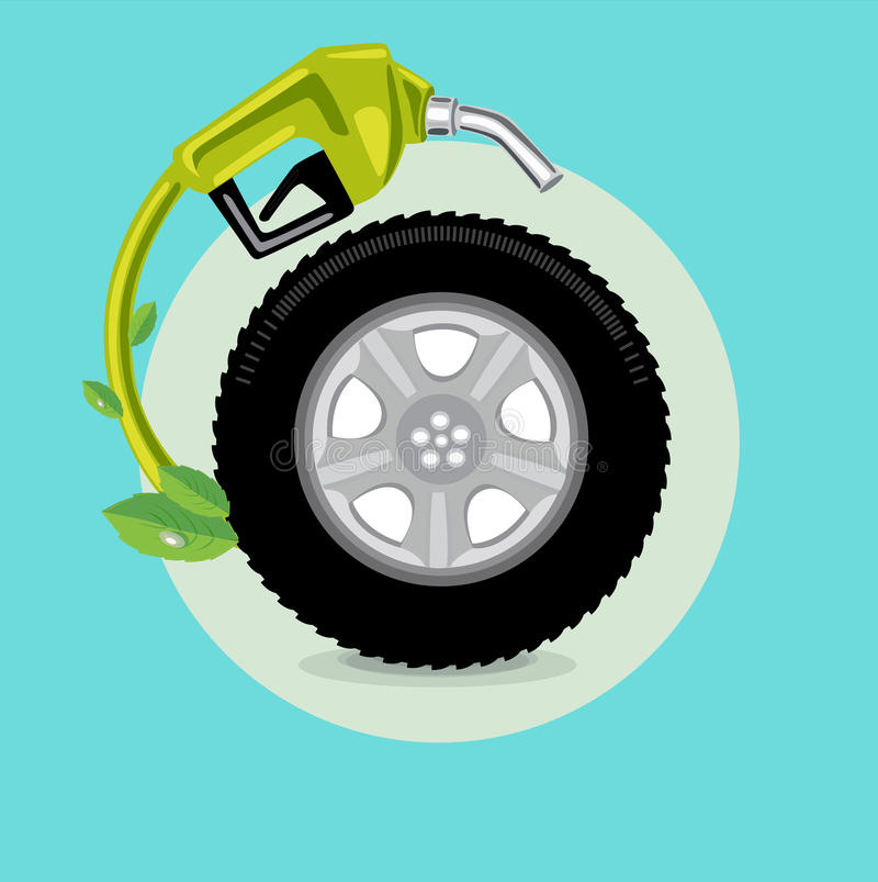 car wheel with fuel nozzle; green energy concept flat design vector royalty free illustration