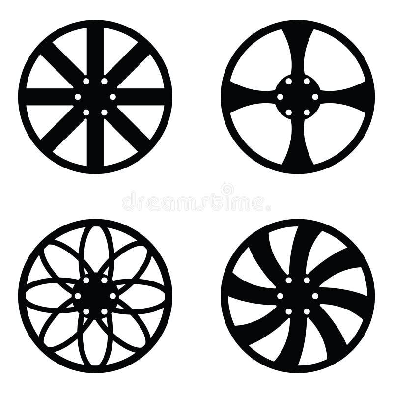 Car wheel icon set vector illustration