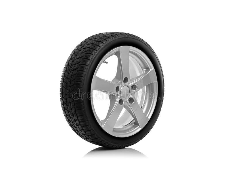 The car wheel is isolated against a white background. Car wheel is isolated on a white background royalty free stock photo