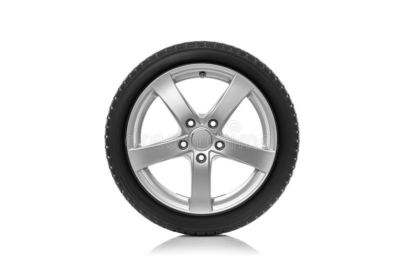 The car wheel is isolated against a white background. Car wheel is isolated on a white background royalty free stock images