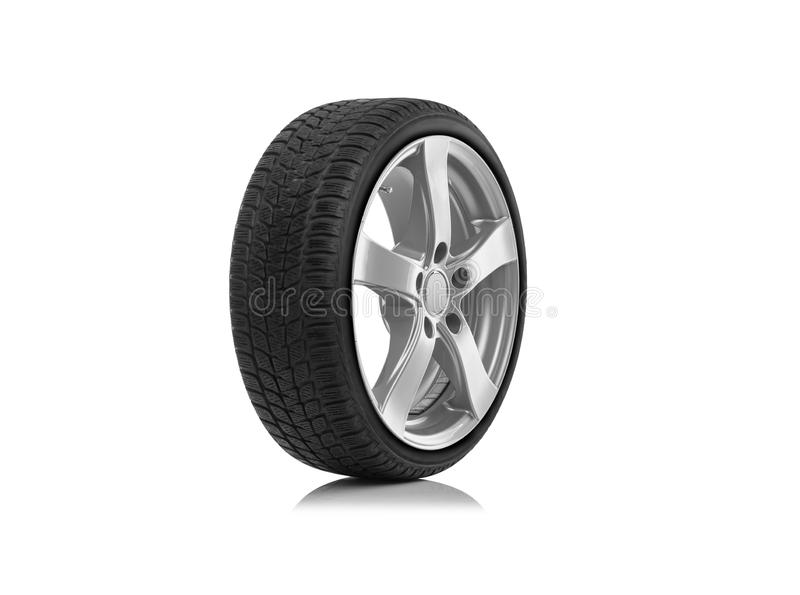 The car wheel is isolated against a white background. Car wheel is isolated on a white background stock photos