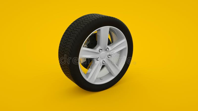 Car wheel isolated on yellow background. Alloy wheels tire auto. Minimalist creative concept. 3d illustration vector illustration