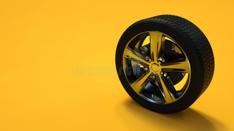 Car wheel isolated on yellow background. Tyre. Poster booklet cover design. 3d illustration stock illustration