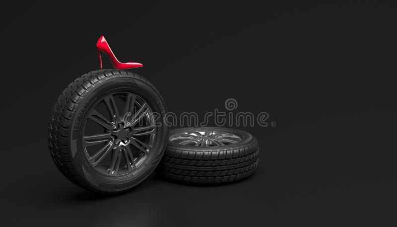 Car wheel and red female shoe on a black background. Creative conceptual illustration. Copy space for text or logo. 3D rendering stock illustration