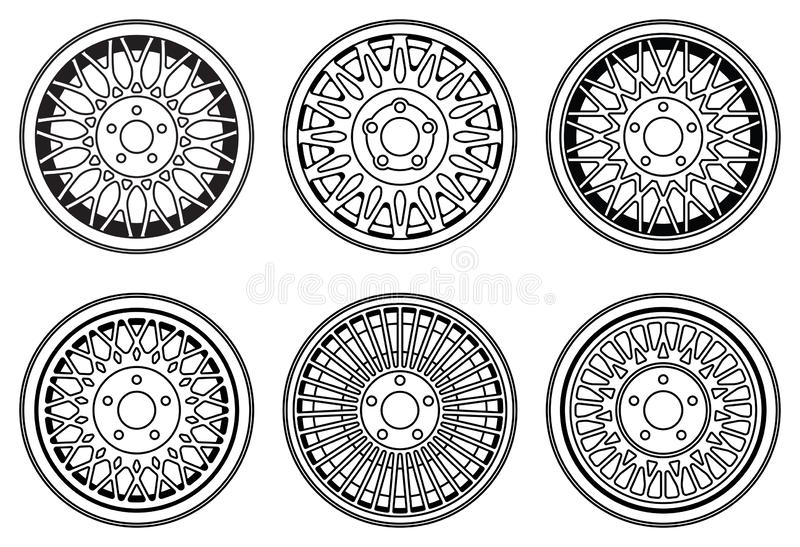 Car wheel rim. Spare parts for cars. Vector illustration vector illustration