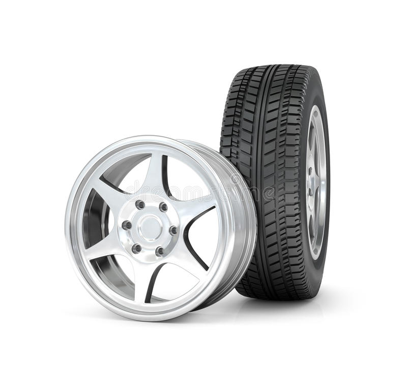 Car wheel and rims. On white background vector illustration
