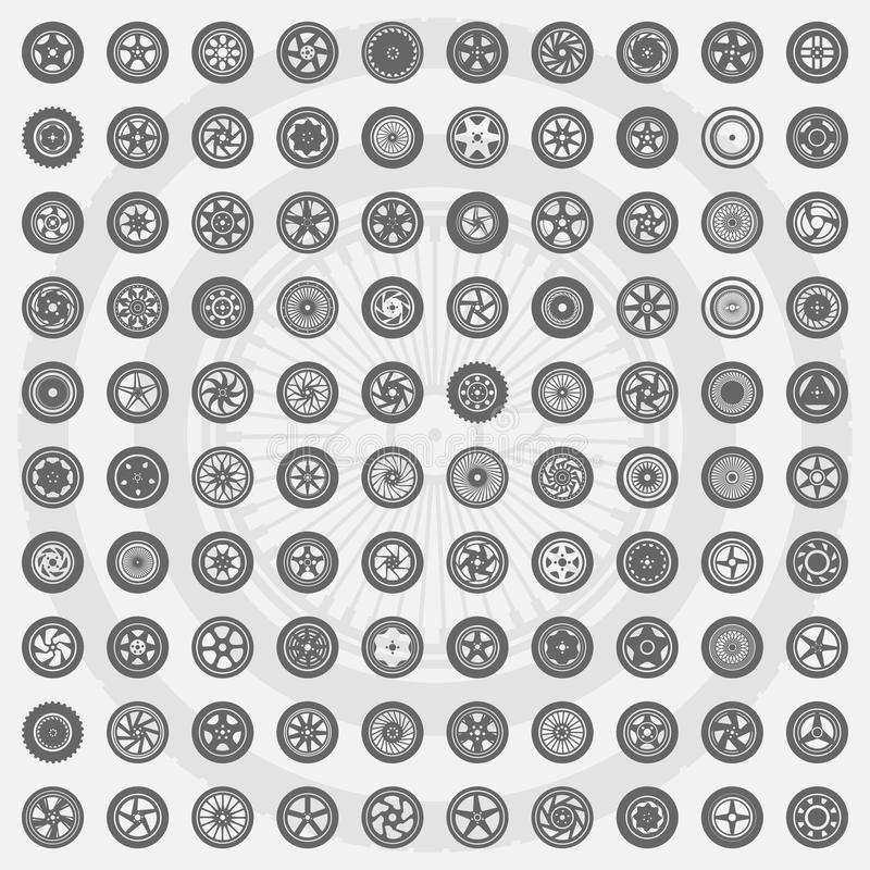 Car wheel set. Rims icons. Vector set of one hundred icons car wheels. Rims icons stock illustration