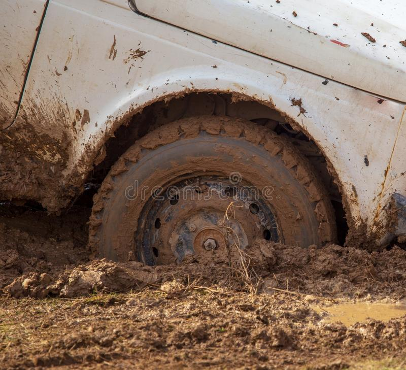 Car wheel slips in the dirt in nature.  stock photos