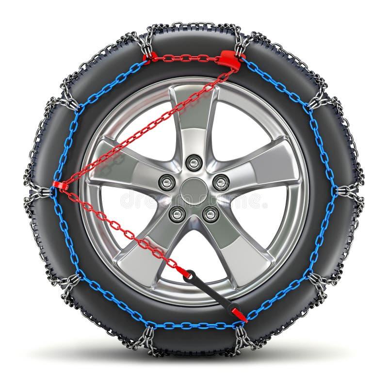 Car wheel with snow chain stock photo