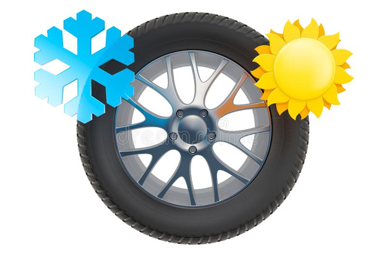 Car Wheel with sun and snowflake. Winter and summer tires concept, 3D rendering. Isolated on white background royalty free illustration