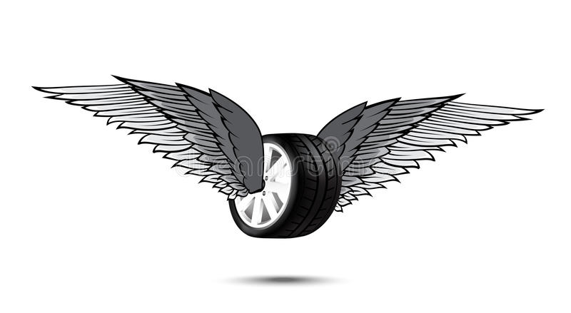 Car wheel and tire with flying pair of wings for logo and emblem royalty free illustration