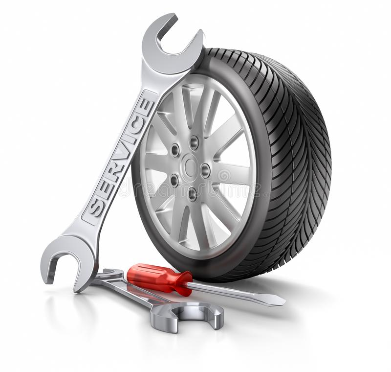 Car wheel and tire - Service royalty free illustration