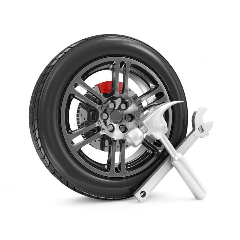 Car Wheel and Tools royalty free illustration