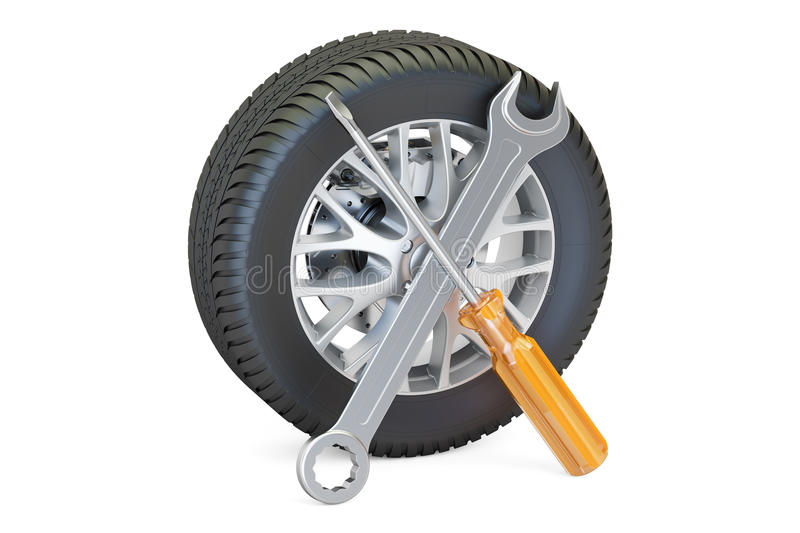 Car wheel with tools, auto service and repair concept. 3D render royalty free illustration