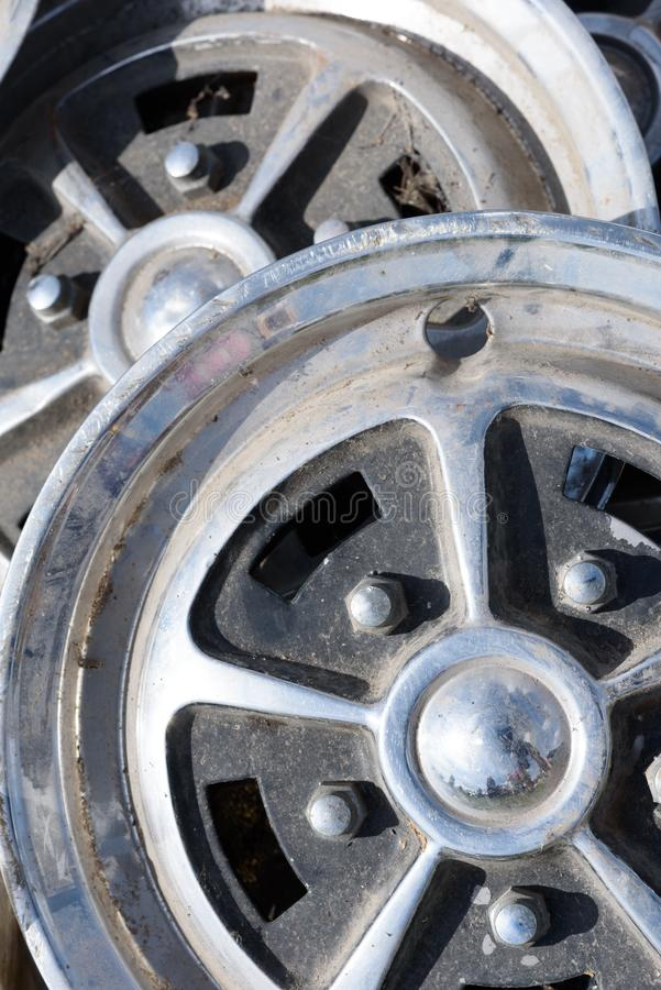 Car Wheel Trims in Alloy Metal stock images