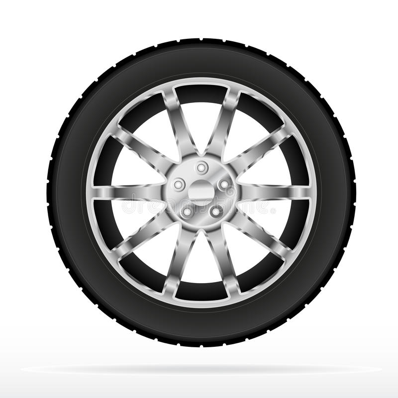 Car wheel and tyre. Illustration design stock illustration