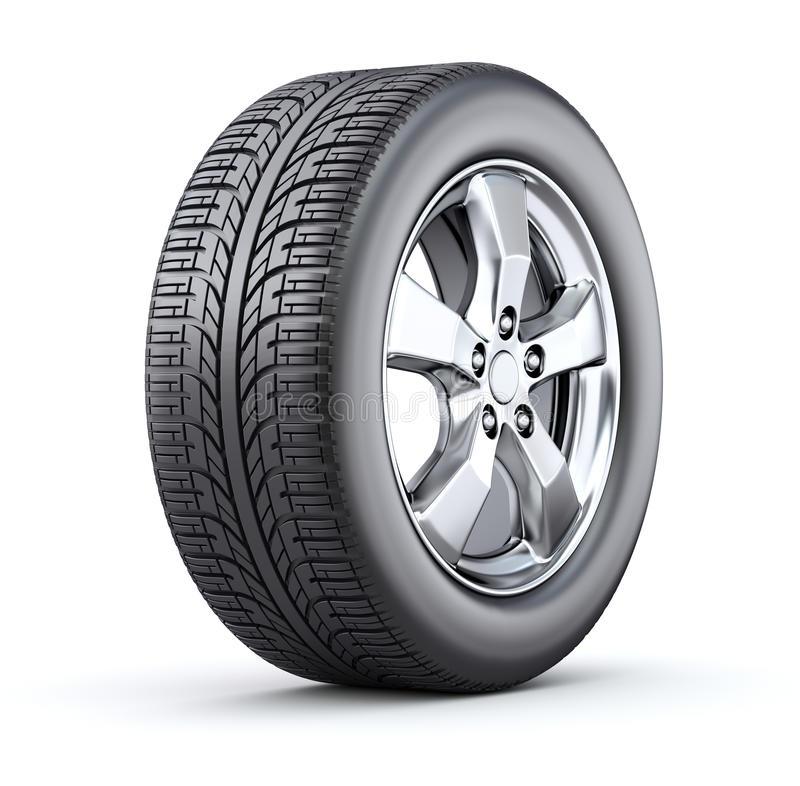Car wheel. On white background - 3D illustration