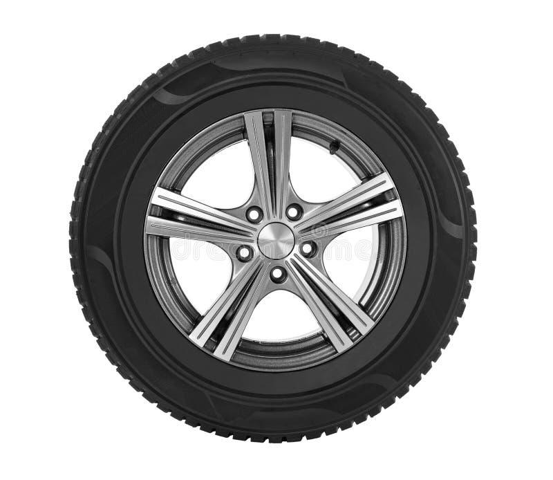 Car wheel on white stock image