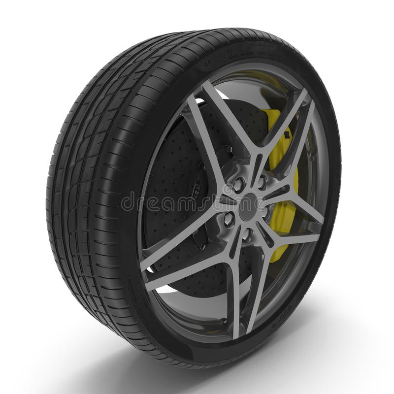 Car Wheel on white. 3D illustration. Car Wheel on white background. 3D illustration royalty free illustration
