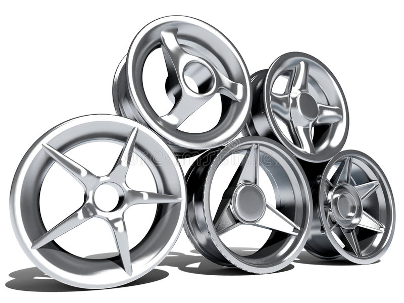 Car wheels. Steel alloy car wheels over the white background