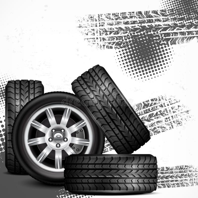 Free Car Wheels And Tire Tracks Royalty Free Stock Photo - 35092285