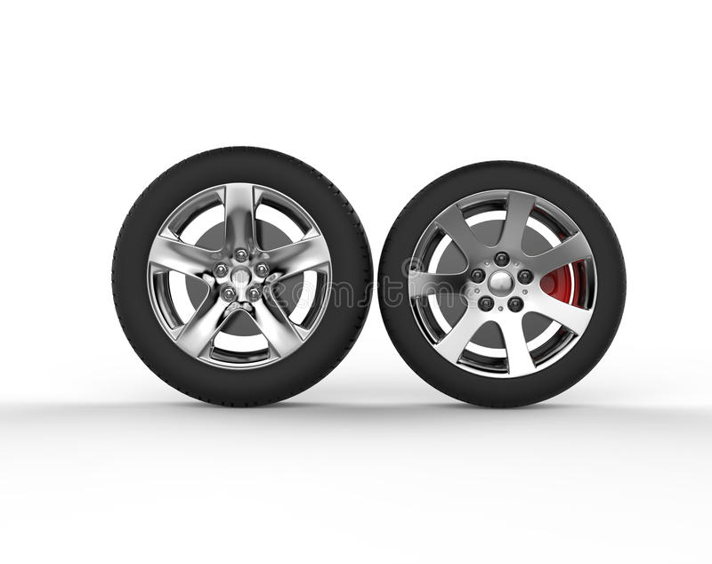 Car wheels - chrome rims. Isolated on white background stock illustration