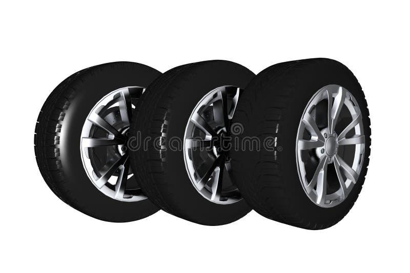 Car Wheels 3D vector illustration