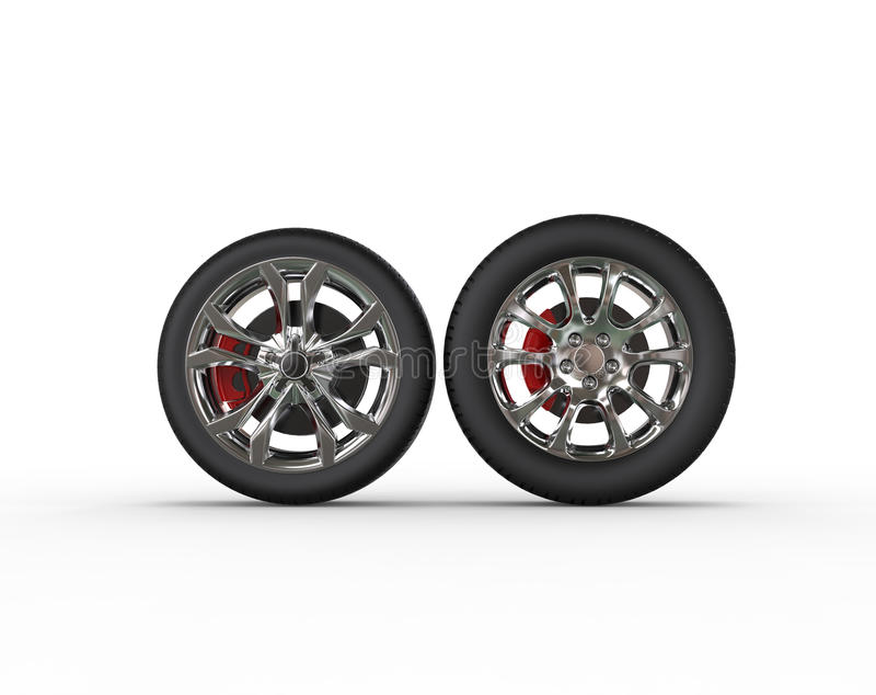 Car wheels - different rims. Isolated on white background vector illustration
