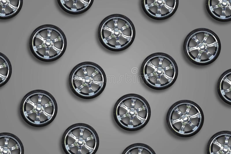 Car wheels on a gray background. Transport. Spare parts. Sale auto wheels. Car wheels on a gray background. Transport. Spare parts. Sale, repair of auto wheels royalty free stock photo